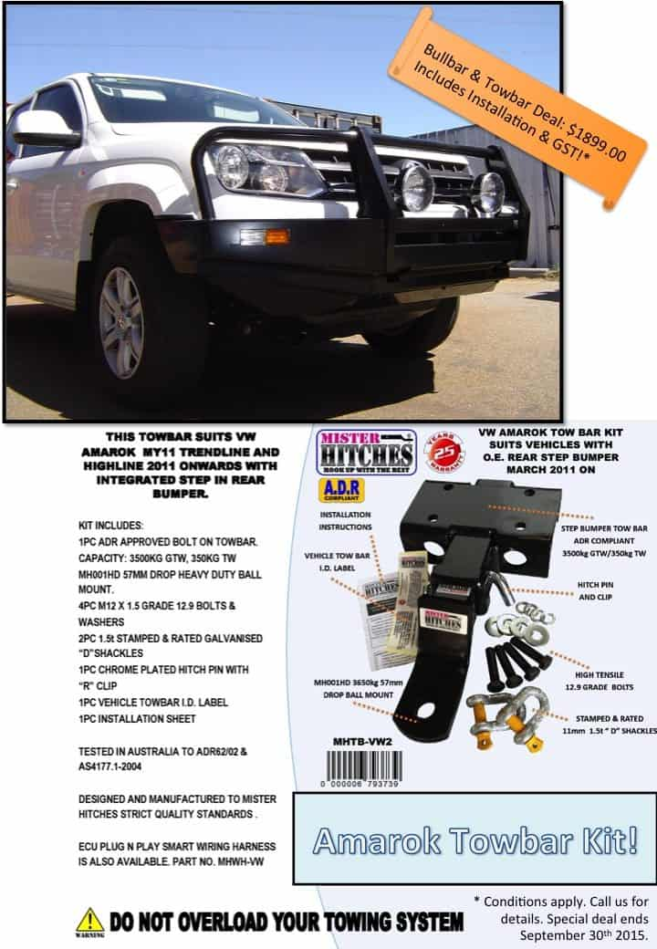 Amarok Sept Deal Bullbar & Towbar Deal: Amarok   only $1899.00!